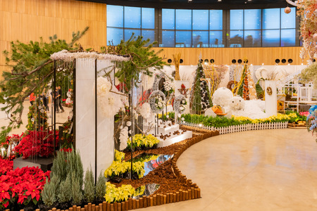 Taichung, DEC 22: Interior view of the Blossom Pavilion of Taichung World Flora Exposition on DEC 22, 2018 at Taichung, Taiwan 新聞圖片