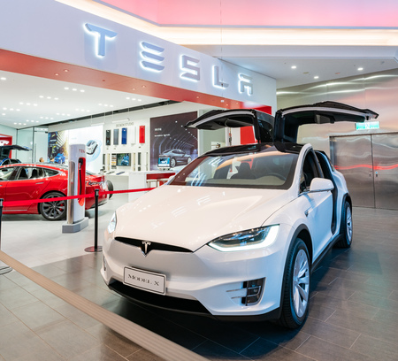 Taipei, DEC 17: Interior view of a Tesla selling center displaying Modle X on DEC 17, 2018 at Taipei, Taiwan