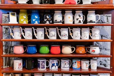 Yilan, JAN 5: Many colorful coffee cups on the shelf on JAN 5, 2019 at Yilan, Taiwan