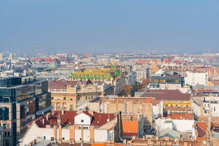 Afternoon aerial view of Budapest cityscape at Hungary