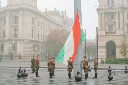 Budapest, NOV 10: Soldier was doing the raise the flag ceremony on NOV 10, 2018 at Budapest, Hungary