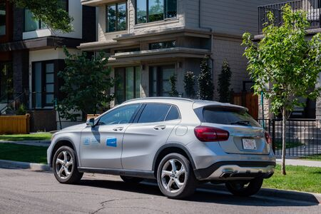 Calgary, AUG 3:  Close up shot of the Car2go Benz renting car on AUG 3, 2019 at Calgary, Canada 報道画像