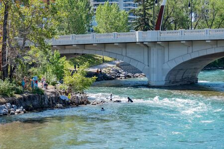 Noon view of the famous Louise Bridge at Calgary, Canada 写真素材 - 129534453