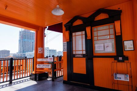 Los Angeles, AUG 10: Noon view of the historical Angels Flight Railway on AUG 10, 2019 at Los Angeles, California