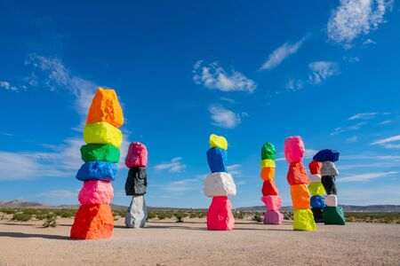 Morning view of the Seven Magic Mountains at Nevada Imagens - 130462606