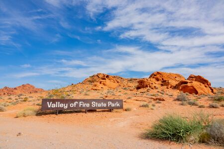 Sign of the Valley of Fire State Park at Nevada