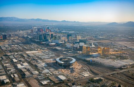 Las Vegas, AUG 29: Aerial view of the famous cityscape of Las Vegas on AUG 29, 2019 at Las Vegas, Nevada