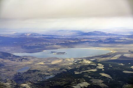 Aerial view of the famous Mono Lake at California 写真素材