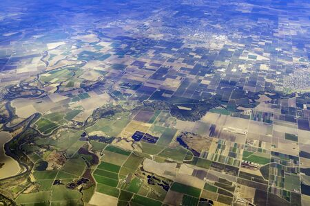 Aerial view of the San Joaquin River National Wildlife Refuge, Stanislaus County at California