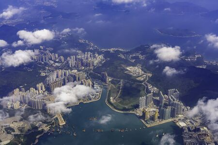 Aerial view of the Hong Kong main island at China 版權商用圖片
