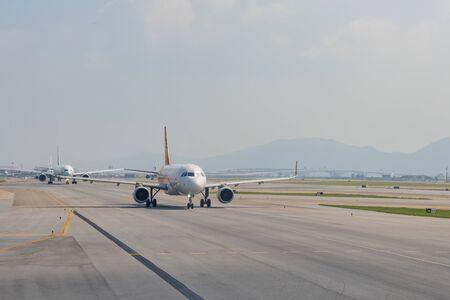 Hong Kong, OCT 20: Airplane ready to take off from the famous Hong Kong International Airport on OCT 20, 2019 at Hong Kong, China