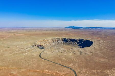 Aerial view of the Meteor Crater Natural Landmark at Arizona