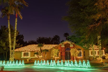 Christmas lights, decoration of a house at Las Vegas, Nevada Stock Photo
