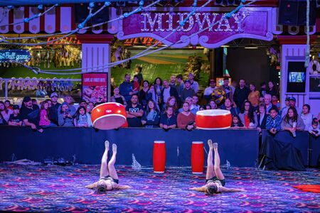 Las Vegas, JAN 4: Free Acrobatic Troupe show in the famous Circus Circus Hotel & Casino on JAN 4, 2020 at Las Vegas, Nevada Éditoriale