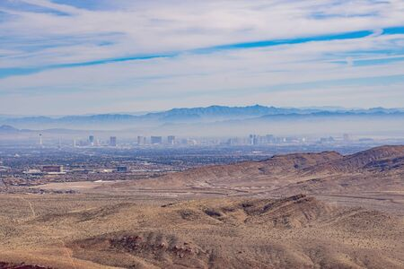High angle view of the Las Vegas skyline from the famous Red Rock Canyon at Nevada