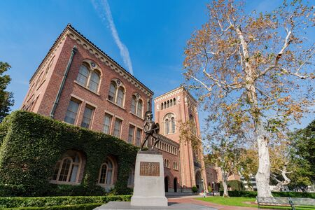 Los Angeles, Jan 15: Afternoon sunny view of the Bovard Auditorium with Trojans statue of USC on JAN 15, 2020 at Los Angeles, California
