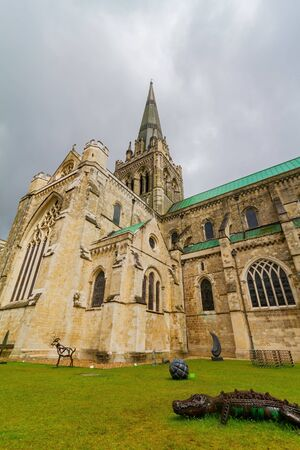 Cloudy exterior view of the landscape near Chichester Cathedral at United Kingdom