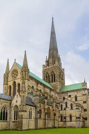 Cloudy exterior view of the Chichester Cathedral at United Kingdom