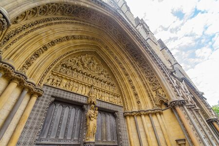 Exterior view of the Westminster Abbey at London, United Kingdom 스톡 콘텐츠