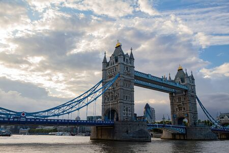 Sunset view of the tower bridge at London, United Kingdom