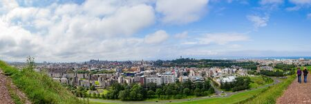 High angle view of the cityscape from Holyrood Park Holyrood Park at Edinburgh