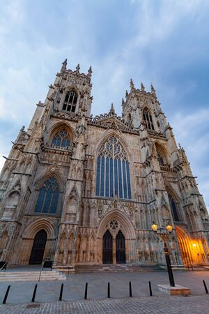 Sunset exterior view of the York Minster at United Kingdom
