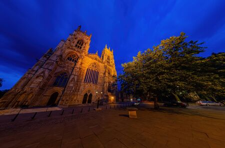 Night exterior view of the York Minster at United Kingdom
