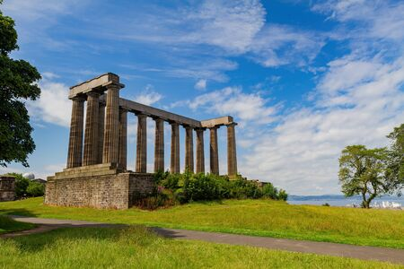 Morning sunny view of the National Monument of Scotland at Edinburgh, United Kingdom Stok Fotoğraf