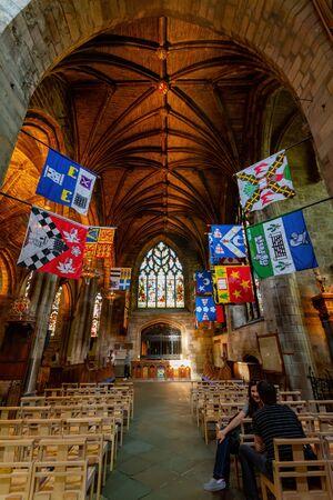 Edinburgh, JUL 11: Interior view of the St Giles' Cathedral on JUL 11, 2011 at Edinburgh