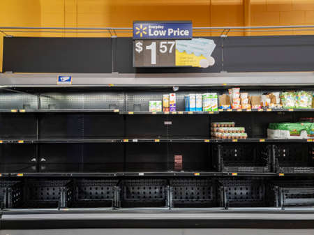 Las Vegas, MAR 4, 2020 - People panic buying making the shelf empty in a grocery store Editorial