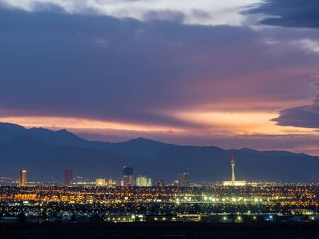 Sunset red afterglow over the famous strip of Las Vegas at Nevada