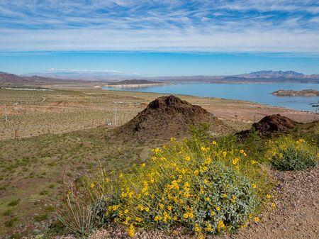 Beautiful nature landscape around Historic Railroad Hiking Trail at Las Vegas, Nevada