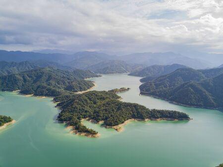 Aerial view of the beautiful Crocodile Island, Qiandao Lake at Shiding District, New Taipei City, Taiwan