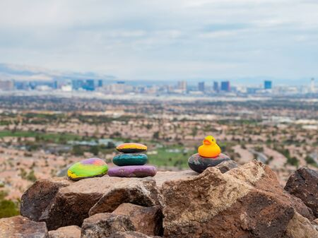 Yellow rubber duck colorful rock and the famous strip view at Henderson, Nevada