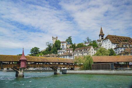 The historical Spreuer Bridge at Lucerne, Switzerland 免版税图像
