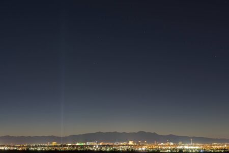 Night high angle view of the skyline of Las Vegas at Nevada