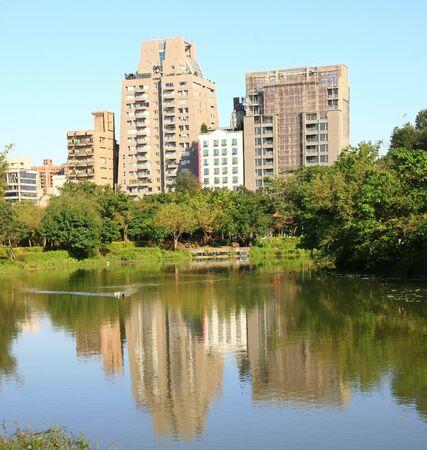 Building and reflection at Daan District at Taipei, Taiwan