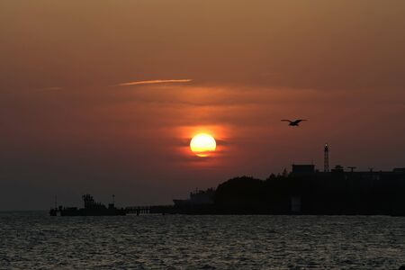 Beautiful sunset scene over the Tamsui River at Taipei, Taiwan