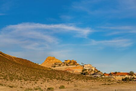 Sunset view of a beautiful building in Calico Ridge area at Nevada Stock Photo