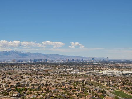 High angle view of the Las Vegas strip skyline and cityscape at Nevada