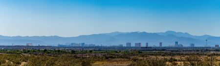 Morning sunny view of the strip skyline at Las Vegas, Nevada