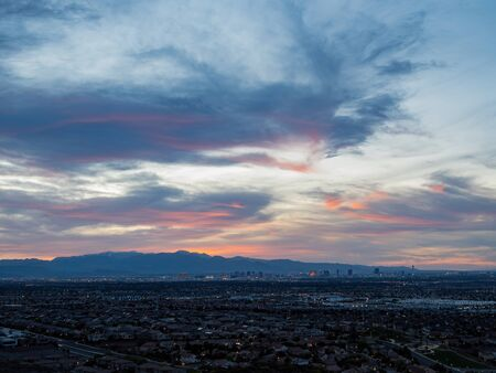 Sunset high angle view of the strip cityscape from Henderson View Pass at Nevada