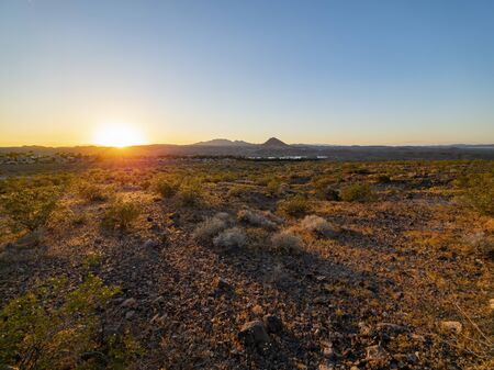 Rural landscape of the Lake Mead area at Nevada 스톡 콘텐츠