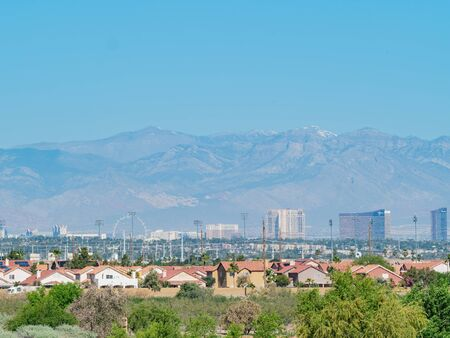 Sunny view of the Las Vegas strip skyline from Henderson at Nevada