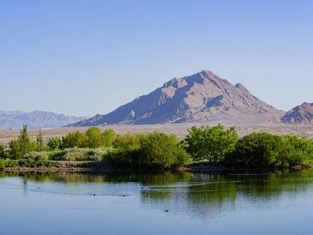 Sunny view of the Frenchman Mountain at Las Vegas, Nevada Archivio Fotografico