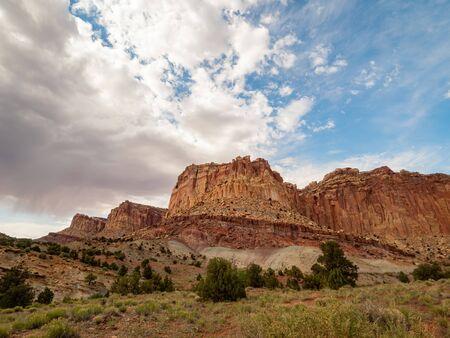 Beautiful landsacpe near Pleasant Creek Road of Capitol Reef National Park at Utah Stock Photo