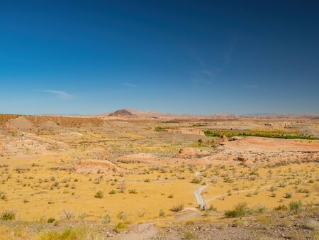 Beautiful landscape along the famous White Owl Canyon trail at Lake Mead, Nevada