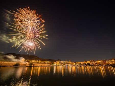 Beautiful fireworks of July 4th at Lake Las Vegas, Nevada