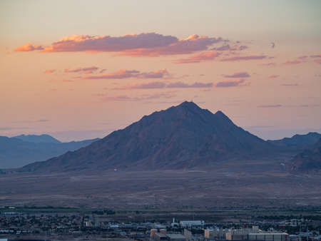 High angle sunset view of the famous Henderson and cityscape at Nevada Stock Photo