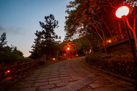 Night view of the wooden house in Mingchi National Forest Recreation Area at Taiwan